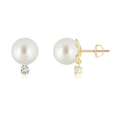 9mm South Sea Cultured Pearl Solitaire Stud Earrings And Diamond 14K Yellow Gold