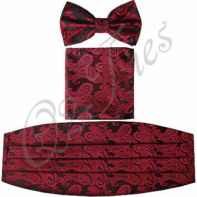 New Paisley Black / Red Men's Cummerbund And Bow tie & Pocket Square Hanky Set
