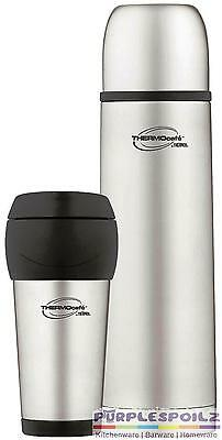 NEW THERMOS STAINLESS STEEL COMBO 1L FLASK + 450ml TUMBLER Insulated Vacuum