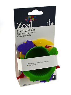 NEW ZEAL SILICONE DINOSAUR MUFFIN MOULDS Dino Cup Cake Cupcake Mould Pan SET 4