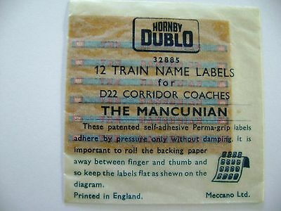 "Hornby Dublo ""THE MANCUNIAN"" packet of 12 Coach Labels"