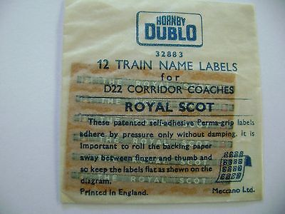 "Hornby Dublo ""ROYAL SCOT"" packet of 12 Coach Labels"