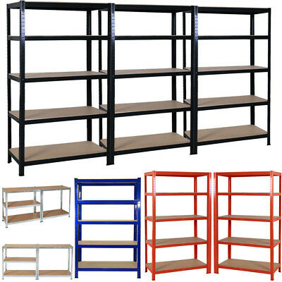 5 Tier Heavy Duty Boltless Metal Shelving Shelves Storage Shelf Garage Home 1.8M