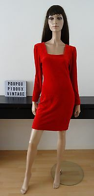 Robe vintage velours rouge made in France taille 38/40 - uk 10/12 - us 6/8