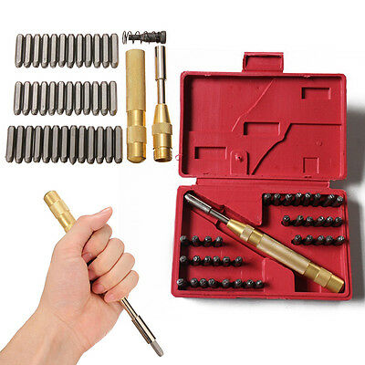38Pcs 1/8'' Steel Number Letter Hand Stamp Set Kit for Soft Metal Punch Imprints