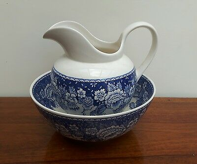 Masons Crabtree & Evelyn - Blue & White Wash Jug & Bowl - Excellent Condition