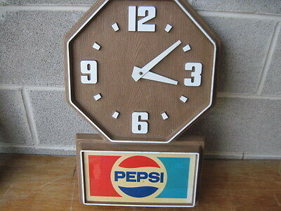 Vintage Pepsi Electric Clock Working Condition For Garage Or Man Cave