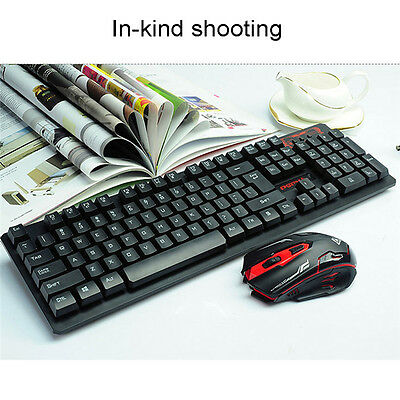 Gaming Wireless 2.4G Keyboard and Mouse Set Kit Multimedia Gamer for Computer PC