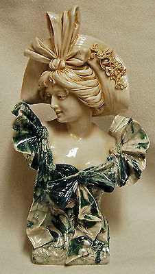 Antique RARE ROYAL DUX Porcelain Czech Art Nouveau Signed Lady Woman Bust