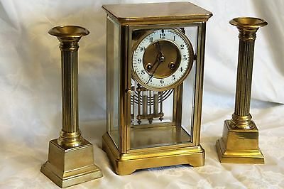 antique french four glass crystal regulator garniture clock