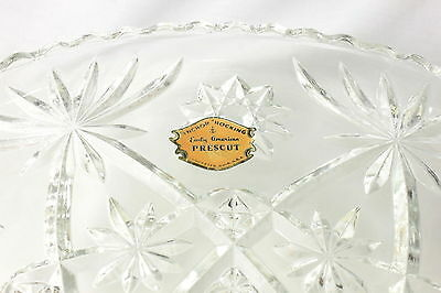 VTG NOS ANCHOR HOCKING GLASS FOOTED CAKE STAND/PLATE PRESCUT #706 EARLY AM w/BOX