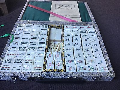 VINTAGE BONE AND BAMBOO MAHJONG SET IN BROCADE CASE 152 tiles VGUC