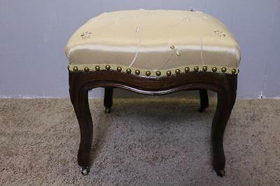 19Th century French Louis XV Spring Seat Walnut Bench Foot Stool New Upholstery