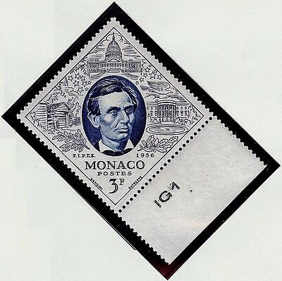 MONACO #356 Abraham Lincoln MNH VF OG 3F FIPEX Plate Number Selvage 1956