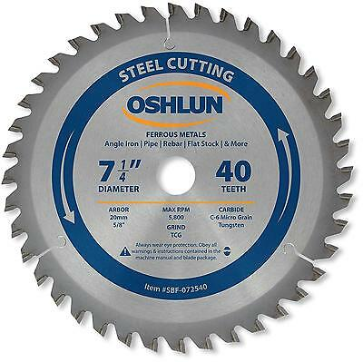 Oshlun SBF 072540 7 1 4 Inch 40 Tooth TCG Saw Blade with 20mm Arbor 5 8...