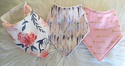 Baby girls bandana bib Watercolor posie stripes and arrow by Tractors & Fairies