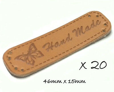 20 HAND MADE Labels Embossed Faux Leather Sew On Craft Sewing DIY