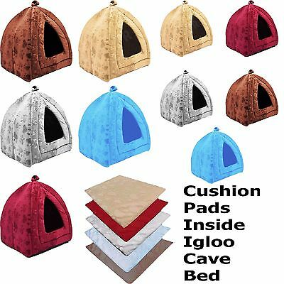 Dogs Cats Pet House Igloo Cave Tent Nesting Cushioned Bed 5 Colours & 2 Sizes