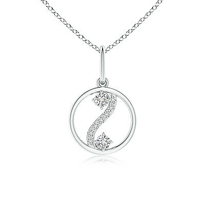 """2-Stone Diamond Pendant Necklace with Polished Circle 14K White Gold 18"""" Chain"""