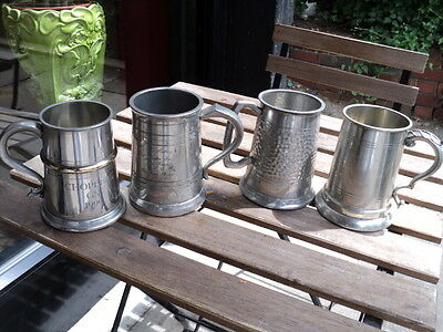 4 Vintage Full Size Sheffield Pewter Beer Mug / Tankard