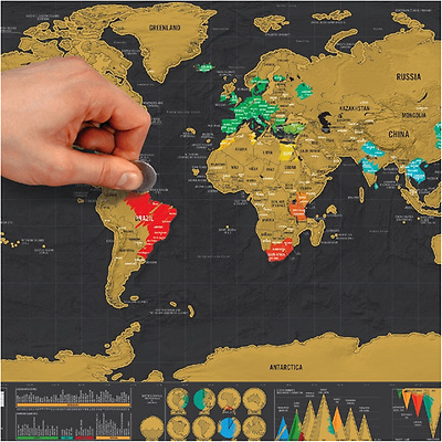 Black Scratch off map Small world map Personal map for Travel Gift 1pcs