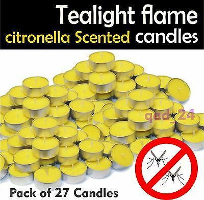 27 Citronella Tealight Candles Wax Mosquito Fly Insect Repeller For Home Outdoor