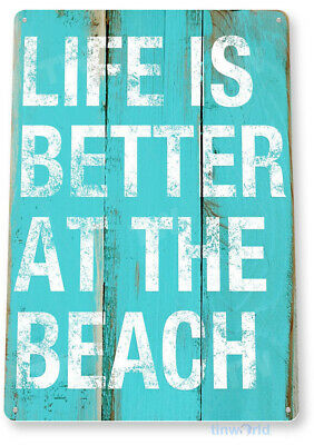 TIN SIGN A236 Beach Life House Cottage Kitchen Store Rustic Beach Metal Decor