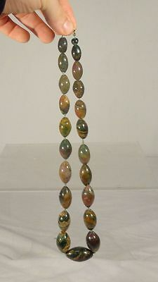 Antique Carved Stone Bloodstone Agate Necklace Sterling Silver Clasp Scottish