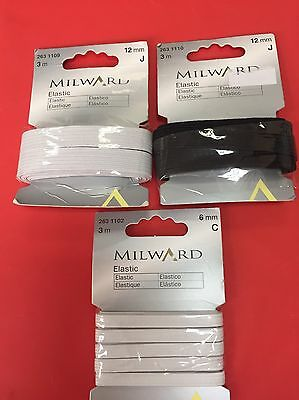 Milward 3m Elastic 6mm / 12mm white black sewing crafts
