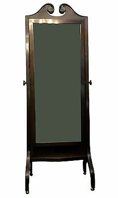 Antique Edwardian mahogany full length cheval mirror, circa 1910