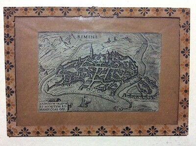 Incisione mappa antica Mattia Cadorin 1645 originale Rimini antique map
