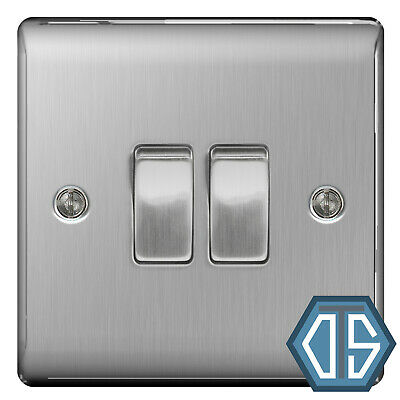 BG Nexus NBS42 Brushed Steel Satin Chrome Twin Double Light Switch 2 Gang 2 Way
