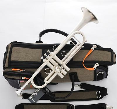 Professional Customized Brushed Silver Trumpet horn With Case Great Sound