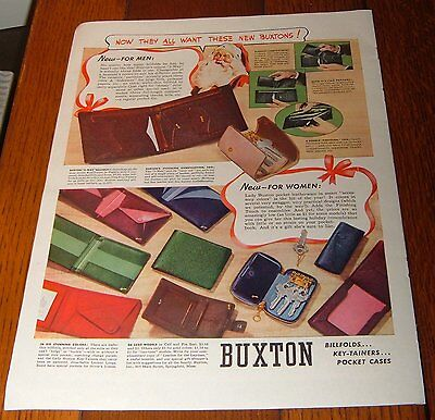 1938 Buxton Billfolds/wallet Ad~Key-Tainers-Pocket Cases~Santa Claus~Christmas