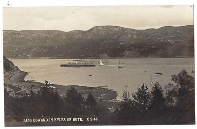 King Edward Steamer in Kyles of Bute, RP Postcard Unused