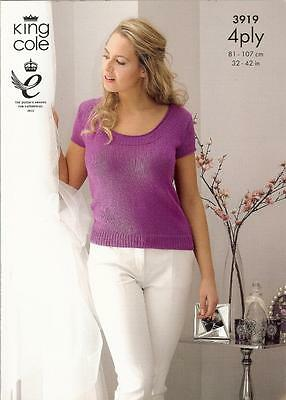 """Ladies Pretty Cardigan & Top 4Ply Knitting Pattern  32 - 42"""" King Cole 3919"""