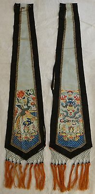 Pr. Antique Chinese Embroidered Silk Skirt Panels. Lt. Qing. Five Claw Dragon