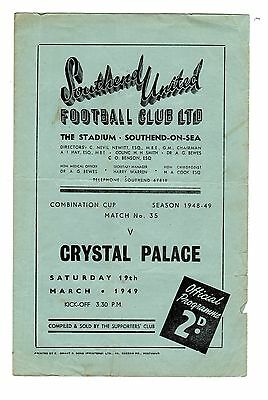 Southend United v Crystal Palace Reserves Programme 19.3.1949 Combination CUP