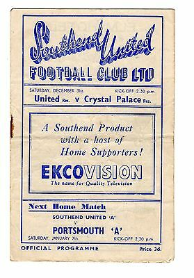 Southend United v Crystal Palace Reserves Programme 31.12.1949 Combination CUP