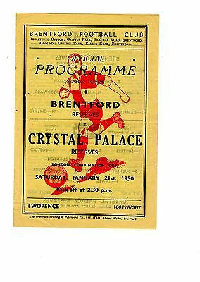 Brentford v Crystal Palace Reserves Programme 21.1.1950 Combination Cup