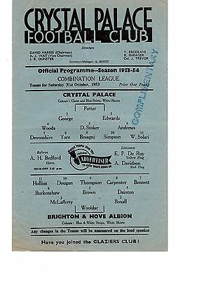 Crystal Palace v Brighton Reserves Programme 31.10.1953
