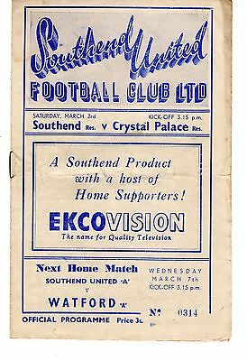 Southend United v Crystal Palace Reserves Programme 3.3.1951 Combination CUP