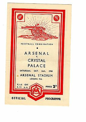 Arsenal v Crystal Palace Reserves Programme 16.10.1948