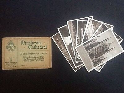 *tuck & Sons 6 Vintage Real Photo Postcards Winchester Cathedral + 1 Extra*