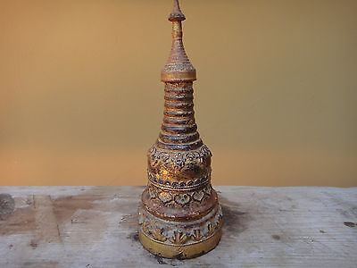 Antique Carved Burmese Teakwood Stupa.  19th Century