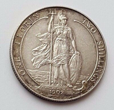 Dated : 1902 - Silver Coin - Two Shillings / One Florin - King Edward VII - Rare