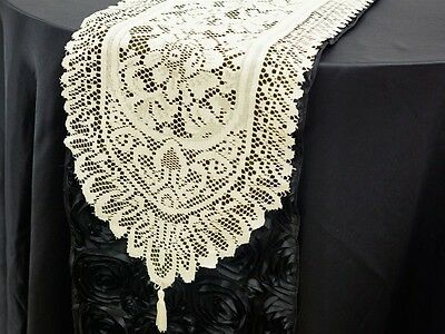 """14""""x108"""" IVORY LACE TABLE RUNNER Wedding Party Catering Event Romantic Linens"""