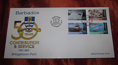 Official First Day Cover (2012)-Bridgetown Port -50 Years Contribution & Service