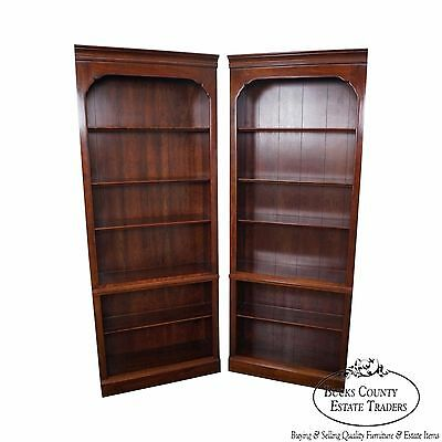 Georgian Court Pair of Solid Cherry Open Bookcases by Kling