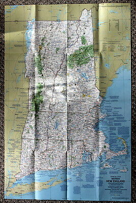 New England Close-Up USA National Geographic Map July 1975
